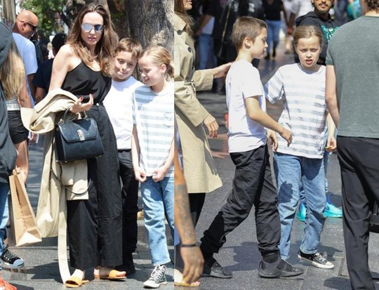 Angelina Jolie dẫn cặp song sinh đi chơi - Ảnh 1.