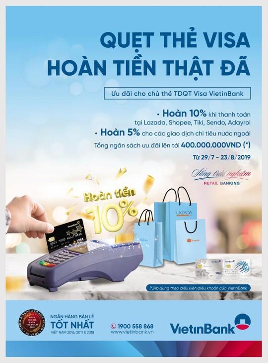 Hoàn đến 2 triệu đồng cho chủ thẻ Tín dụng Quốc tế Visa VietinBank - Ảnh 1.