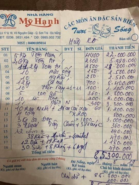 Nhà hàng ở Đà Nẵng lý giải hóa đơn bữa ăn hải sản 85 triệu đồng - Ảnh 1.