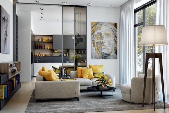 Phòng khách có nội thất màu vàng mang lại cảm giác ấm áp - Ảnh 1.