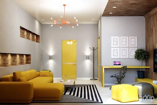 Phòng khách có nội thất màu vàng mang lại cảm giác ấm áp - Ảnh 2.