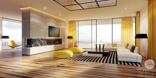 Phòng khách có nội thất màu vàng mang lại cảm giác ấm áp - Ảnh 12.
