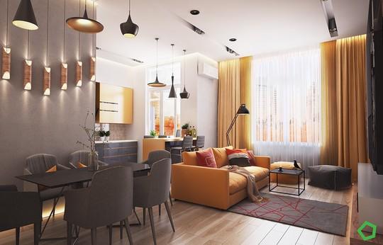 Phòng khách có nội thất màu vàng mang lại cảm giác ấm áp - Ảnh 3.