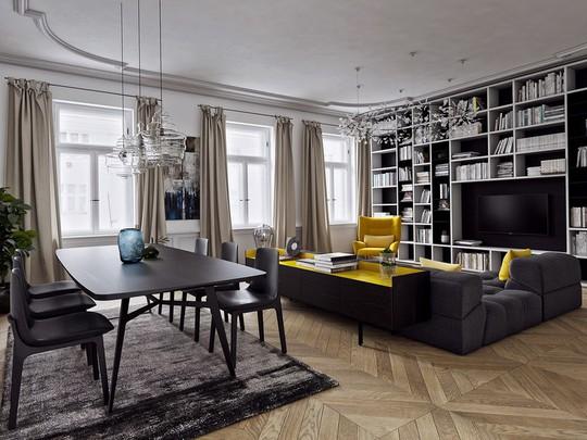 Phòng khách có nội thất màu vàng mang lại cảm giác ấm áp - Ảnh 4.