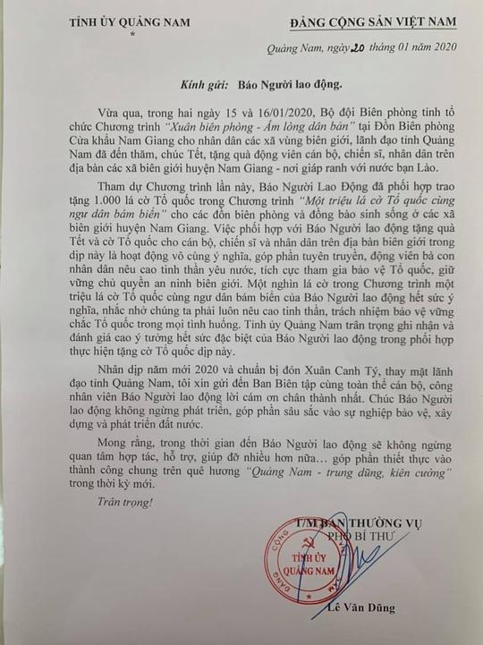 Tỉnh ủy Quảng Nam gửi thư cảm ơn chương trình Một triệu lá cờ Tổ quốc cùng ngư dân bám biển - Ảnh 2.