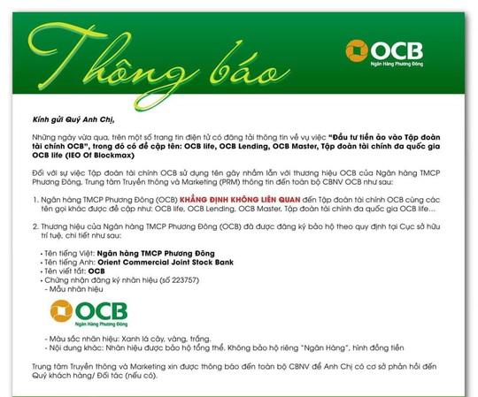 """Ngân hàng Phương Đông khẳng định không liên quan tới """"Tập đoàn tài chính OCB"""" - Ảnh 1."""