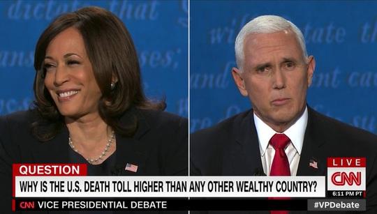 Twitter sôi sục vì khuôn mặt bà Harris, ruồi đậu trên tóc ông Pence - Ảnh 2.