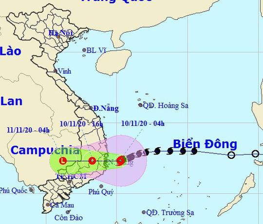 Bão số 12 giật cấp 12 đổ bộ từ Bình Định - Ninh Thuận trong sáng nay 10-11 - Ảnh 1.