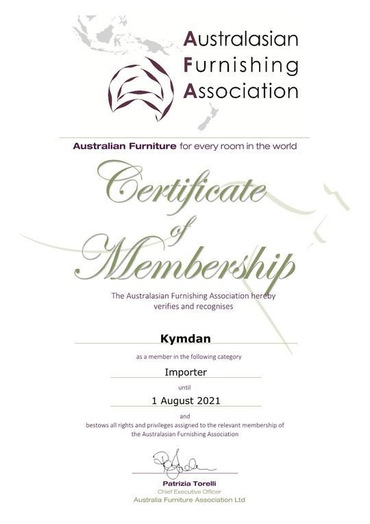 Chứng nhận KYMDAN là thành viên Hiệp hội Ngành Hàng Nội Thất Australia