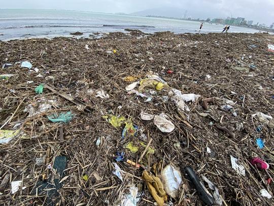 CLIP: Rác tràn ngập bãi biển Đà Nẵng sau bão số 13 - Ảnh 5.