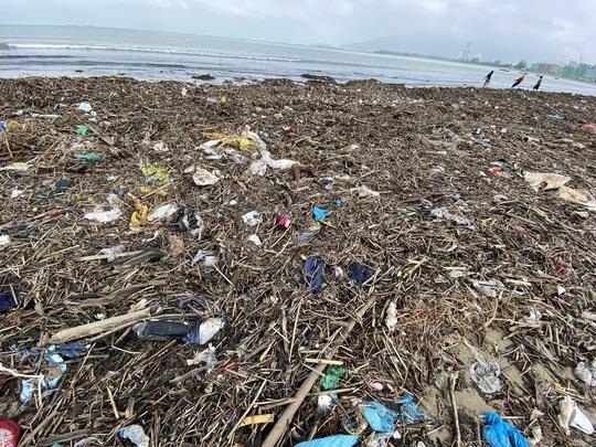 CLIP: Rác tràn ngập bãi biển Đà Nẵng sau bão số 13 - Ảnh 9.