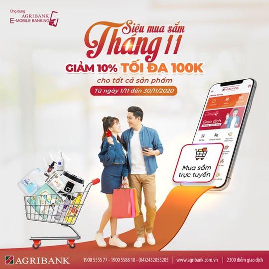 """Chương trình """"Siêu mua sắm tháng 11"""" trên siêu thị điện tử Vnshop của ứng dụng Agribank E-Mobile Banking. - Ảnh 1."""