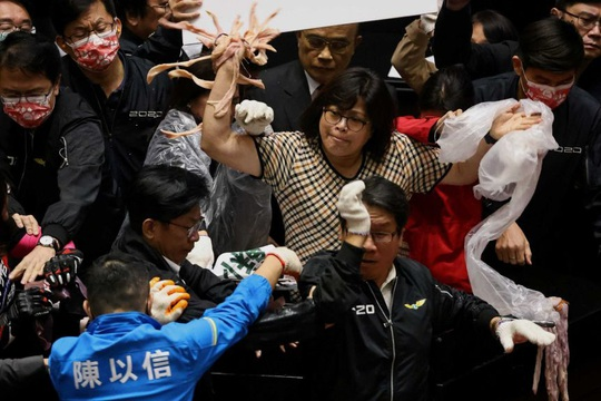 Hỗn chiến... lòng heo giữa các nhà lập pháp Đài Loan - Ảnh 1.