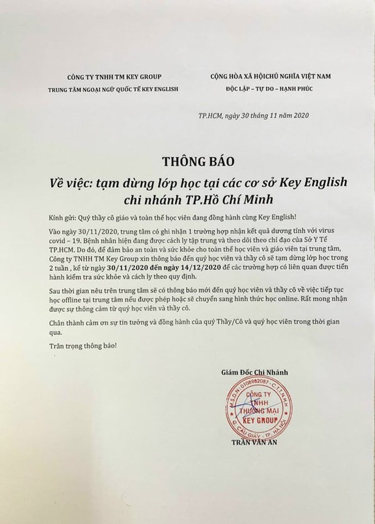 Trung tâm Ngoại ngữ quốc tế Key English tạm dừng 6 cơ sở ở TP HCM vì bệnh nhân Covid-19 số 1347 - Ảnh 1.