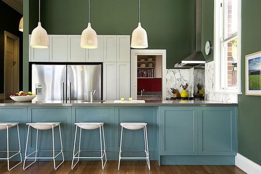 Những gam xanh tối màu tuyệt đẹp cho căn bếp hiện đại - Ảnh 13.