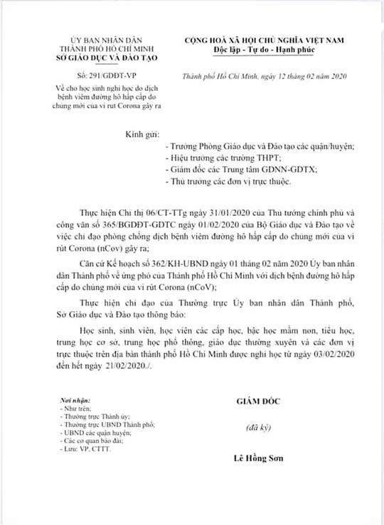 UBND TP HCM yêu cầu công an điều tra vụ giả mạo văn bản nghỉ học - Ảnh 1.