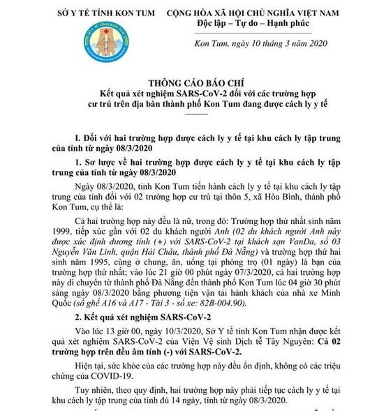 Kết quả xét nghiệm 2 cô gái ở Kon Tum tiếp xúc gần 2 du khách mắc Covid-19 - Ảnh 1.