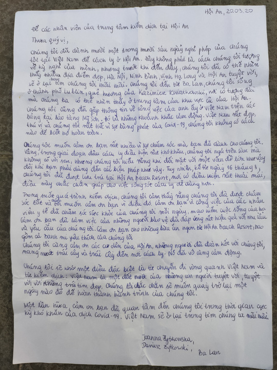 Tiết lộ lá thư nữ du khách Ba Lan gửi nhân viên y tế Hội An - Ảnh 1.