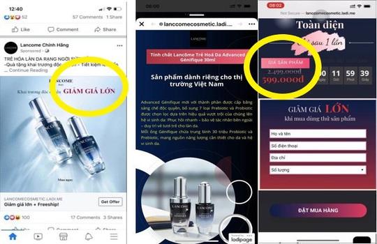Hàng loạt trang Fanpage và website giả mạo Lancôme Việt Nam - Ảnh 1.