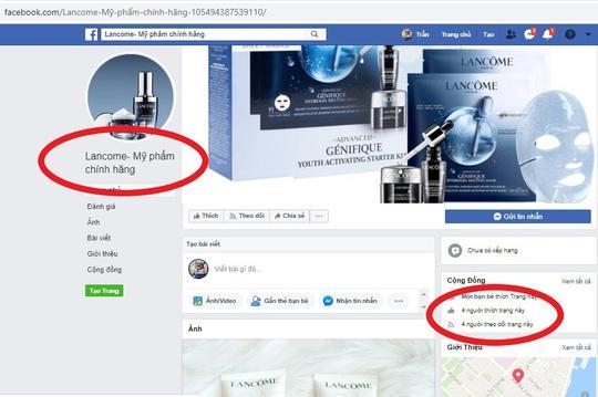 Hàng loạt trang Fanpage và website giả mạo Lancôme Việt Nam - Ảnh 2.