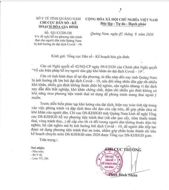 Quảng Nam thu hồi công văn xin phương tiện tránh thai mùa dịch Covid-19 - Ảnh 2.