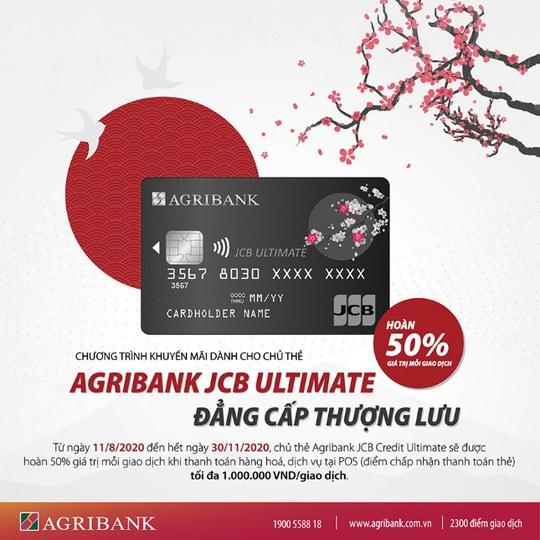 Chủ thẻ Agribank JCB Ultimate được hoàn tiền đến 50% khi thanh toán - Ảnh 1.