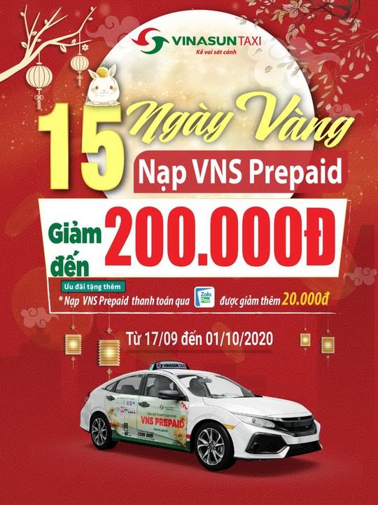 """Vinasun Taxi khuyến mãi """"15 ngày vàng – Nạp VNS Prepaid giảm đến 200.000 đồng"""" - Ảnh 1."""