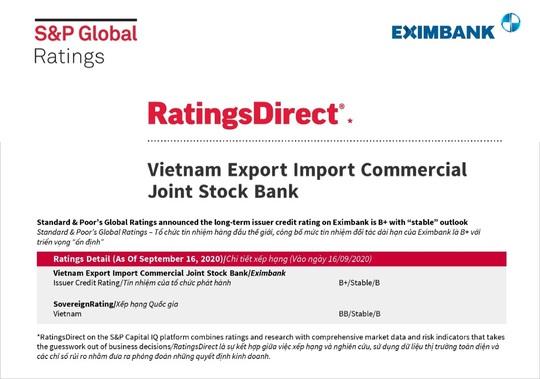 Eximbank được Standard & Poor's Global Ratings giữ nguyên tín nhiệm B+, triển vọng ổn định - Ảnh 1.