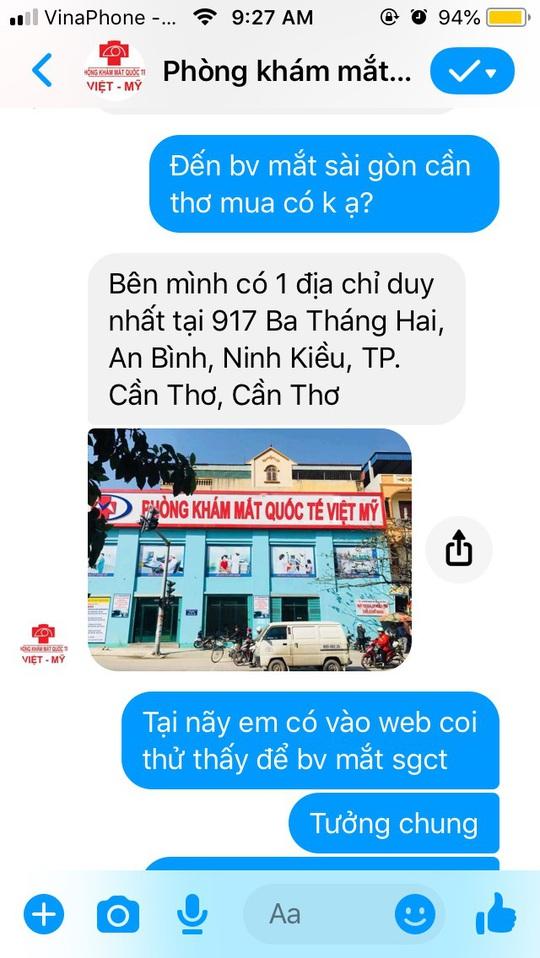 1 phòng khám mạo danh Bệnh viện Mắt Sài Gòn để trục lợi? - Ảnh 3.
