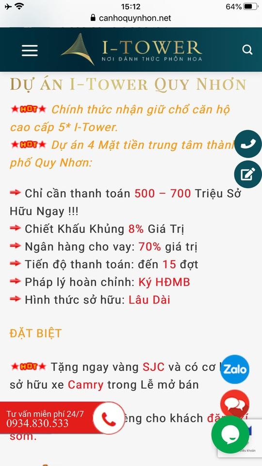 Bình Định cảnh báo khi mua căn hộ dự án I-Tower Quy Nhơn - Ảnh 1.