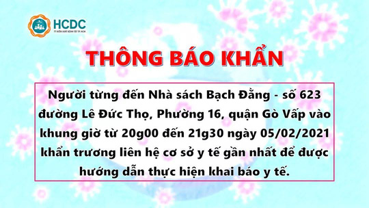 Thông báo khẩn: TP HCM truy tìm người từng đến 2 địa điểm ở Gò Vấp và Thủ Đức - Ảnh 2.