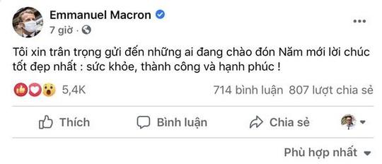 """Thông điệp chúc tết bằng tiếng Việt của Tổng thống Pháp nhận """"bão like"""" - Ảnh 1."""