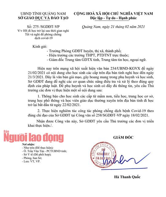 Học sinh Quảng Nam đi học trở lại, công an điều tra văn bản giả mạo - Ảnh 2.