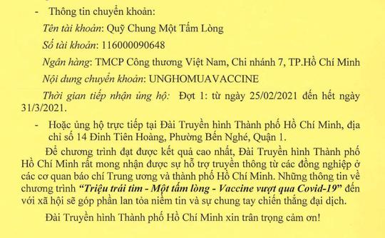 HTV phát động chương trình Triệu trái tim - Một tấm lòng - Vaccine vượt qua Covid-19 - Ảnh 1.