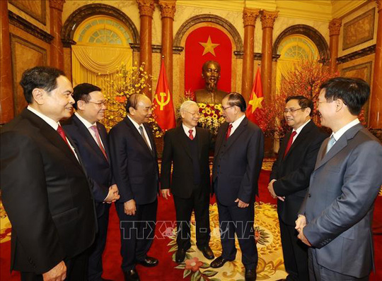 Tổng Bí thư, Chủ tịch nước Nguyễn Phú Trọng chủ trì gặp mặt, chúc Tết - Ảnh 9.