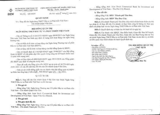 BIDV Quận 9 Sài Gòn công bố quyết định đổi tên chi nhánh - Ảnh 1.