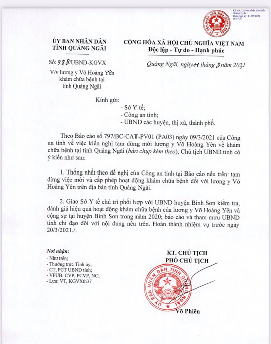Quảng Ngãi tạm thời cấm cửa ông Võ Hoàng Yên đến khám chữa bệnh - Ảnh 2.