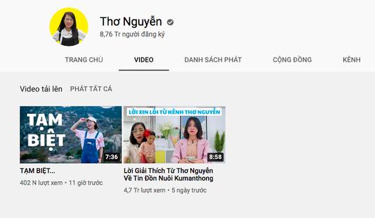 Youtuber Thơ Nguyễn ẩn toàn bộ video, dừng kiếm tiền trên YouTube - Ảnh 1.