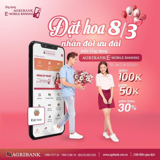 Đặt hoa 8/3 – Nhân đôi ưu đãi trên ứng dụng Agribank E - Mobile Banking - Ảnh 1.