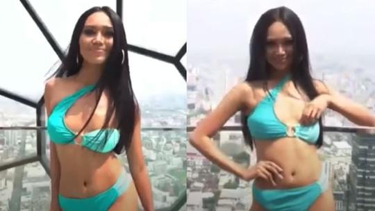 Người đẹp Myanmar lộ ngực khi thi trình diễn áo tắm - Ảnh 2.