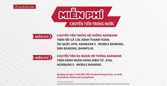 Agribank miễn 100% phí dịch vụ chuyển tiền trong nước - Ảnh 1.