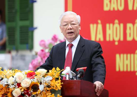 Những hình ảnh Tổng Bí thư Nguyễn Phú Trọng bỏ phiếu bầu cử - Ảnh 9.