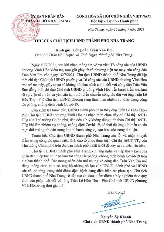 Chủ tịch TP Nha Trang gửi thư xin lỗi anh công nhân trong vụ bánh mì không phải lương thực thiết yếu - Ảnh 1.