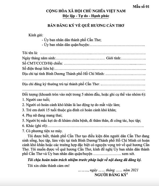 Những lưu ý đối với công dân Cần Thơ muốn trở về từ TP HCM và Bình Dương - Ảnh 1.