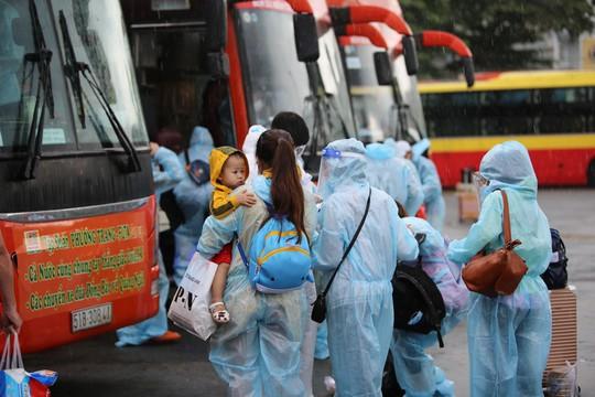 Quảng Ngãi đón 135 thai phụ, trẻ em về quê bằng xe buýt - Ảnh 1.