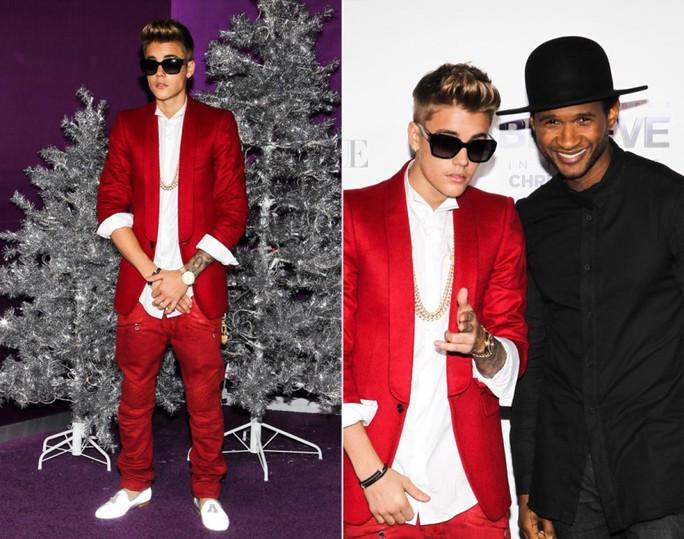 Justin Bieber và bạn tên là Usher bên cây thông Noel ngày 18-12