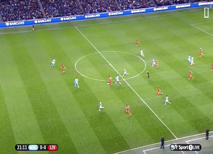 Pha bóng cho thấy rõ ràng cầu thủ của Liverpool chưa việt vị