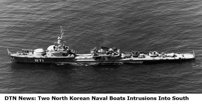 Hai tàu Hải quân Triều Tiên vượt qua ranh giới lãnh hải với Hàn Quốc năm 2010. Ảnh: DTS News