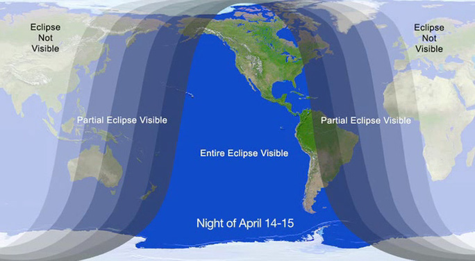 Bản đồ minh họa những khu vực thế giới nhìn thấy nhật thực. Ảnh: Space.com