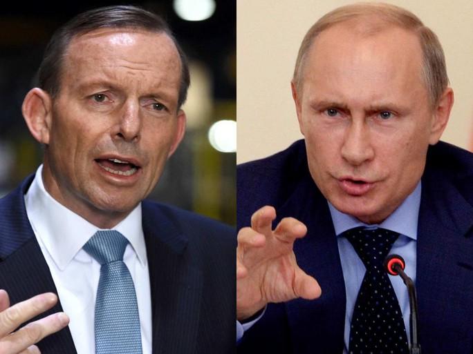 Thủ tướng Úc Tony Abbott (trái) sẽ gặp Tổng thống Nga Vladimir Putin vào ngày 11-11 tới. Ảnh: AAP, Reuters